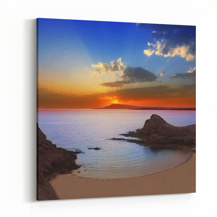 Lanzarote Playa Papagayo Beach Sunset In Canary Islands Photo Illustration Canvas Wall Art Print
