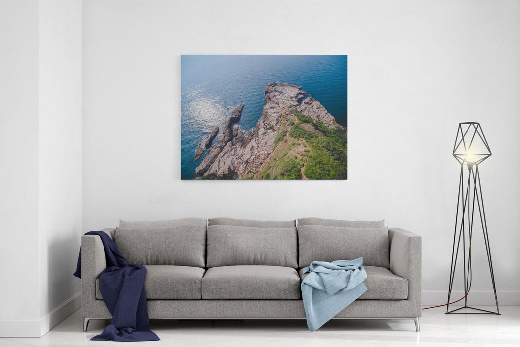 Aerial View Of Longdong Bay Cape  Northeast And Yilan Coast National Scenic Area Coast Landscape Birds Eye View Use The Drone, Shot In Gongliao District, New Taipei, Taiwan Canvas Wall Art Print