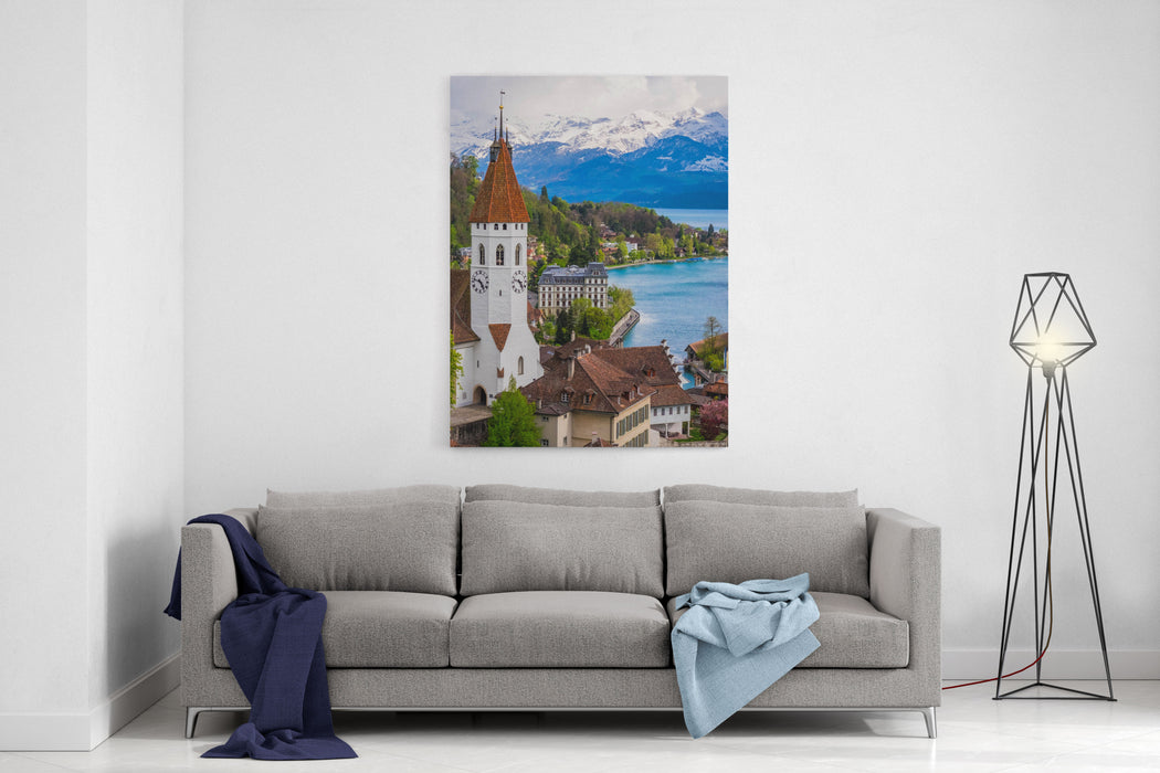 Aerial Scenery Of Old Town Cityscape From Thun Castle And Alpine Mountain Range In Switzerland With Cloudy Swiss Village Among Swiss Alps Scenic Landscape Of Switzerland Country With Snowy Mountain Canvas Wall Art Print