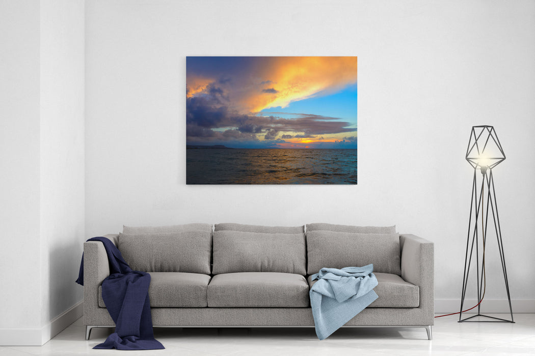Amazing Scenic Landscape Taken During Wonerful Sunset On Sea Island Crete In Background With Clouds And Water In Red And Orange Colors Canvas Wall Art Print