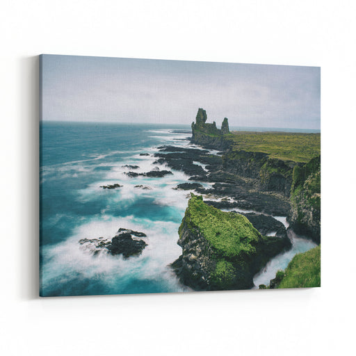 Dramatic Scandinavian Sea Landscape With Big Cliffs And Moody Sky Iceland Outdoor Travel Background Long Exposure Canvas Wall Art Print