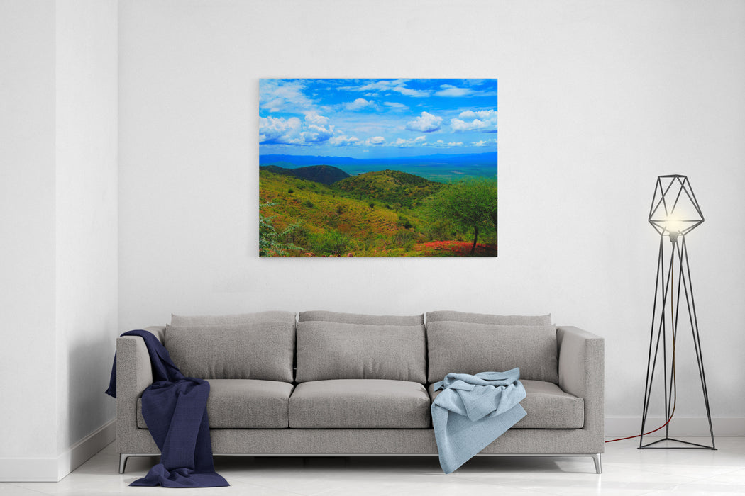 Aerial Panoramic View To Stephanie Wildlife Sanctuary And Weito Valley At Karat Konso, Ethiopia Canvas Wall Art Print