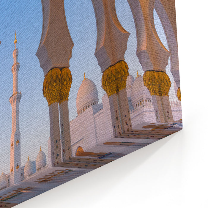 Abu Dhabi Sheik Zayed Grand Mosque At Night  Arabian Nights Imagination, Dreamy Wonder Of The World UAE, Middle East, UAE Architecture, Night Photo With Reflection, Lights And  Wallpaper Canvas Wall Art Print