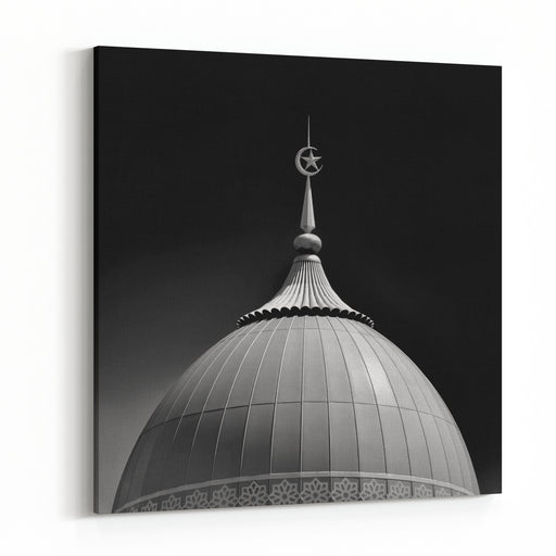 Islamic Architecture, Mosque Dome In Dark Background , Ideal Use As Background Black And White Photography Canvas Wall Art Print