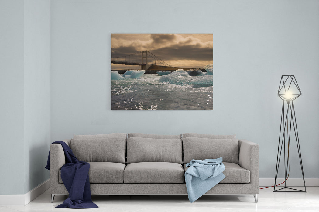 Iceberg Drifting To Sea At Jokulsarlon Iceland Canvas Wall Art Print