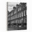 A Black And White Photo Of A Typical London Street With Edwardian Houses In The Rain Canvas Wall Art Print