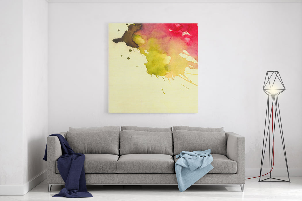 Abstract Watercolor Nand Painted Background Watercolor Blot Background, Raster Illustration Canvas Wall Art Print