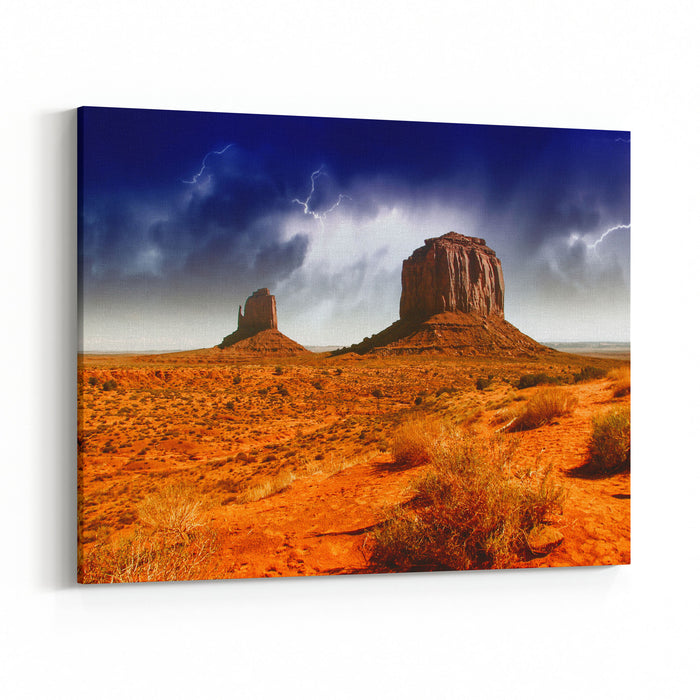 The Famous Buttes Of Monument Valley At Sunset, Utah, USA Canvas Wall Art Print