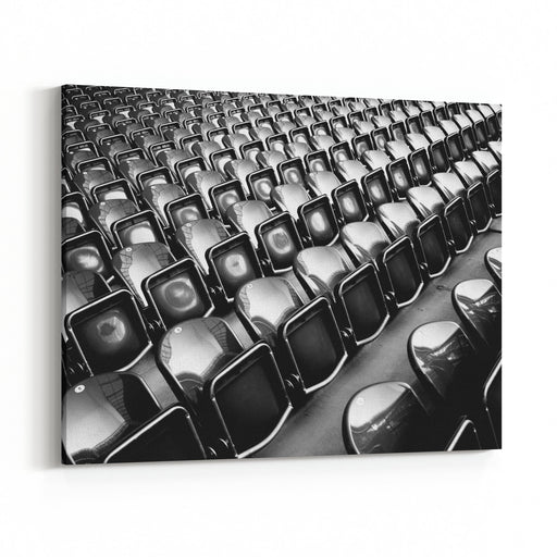 Rows Of Seats In A Soccer Stadium Are Clean And Expressive, Reflecting Strong Light And The Environmentpolished Canvas Wall Art Print
