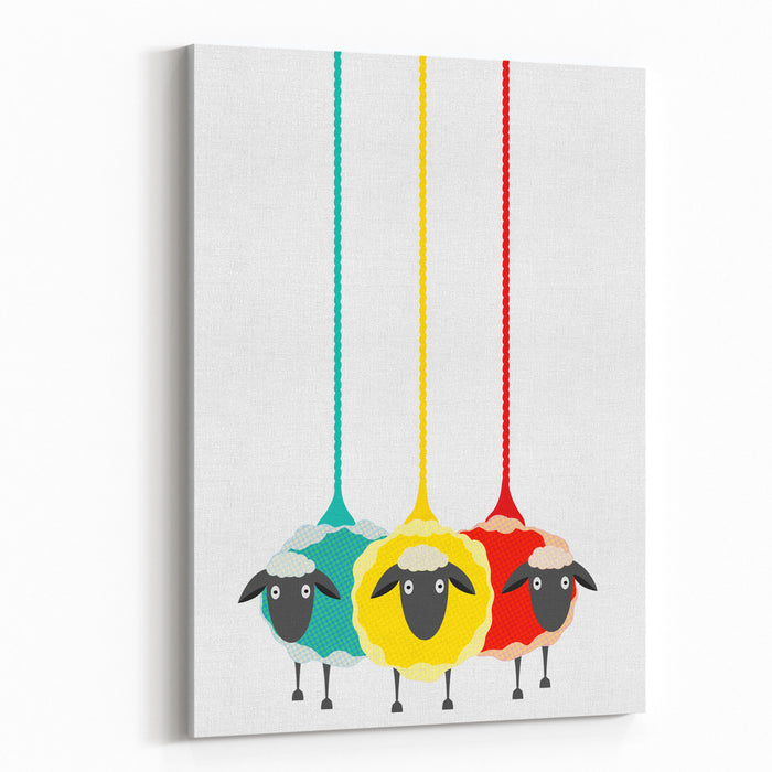Three Yarn Sheep Vector EPS Graphic Illustration Of Three Colored Sheep With Yarn Canvas Wall Art Print