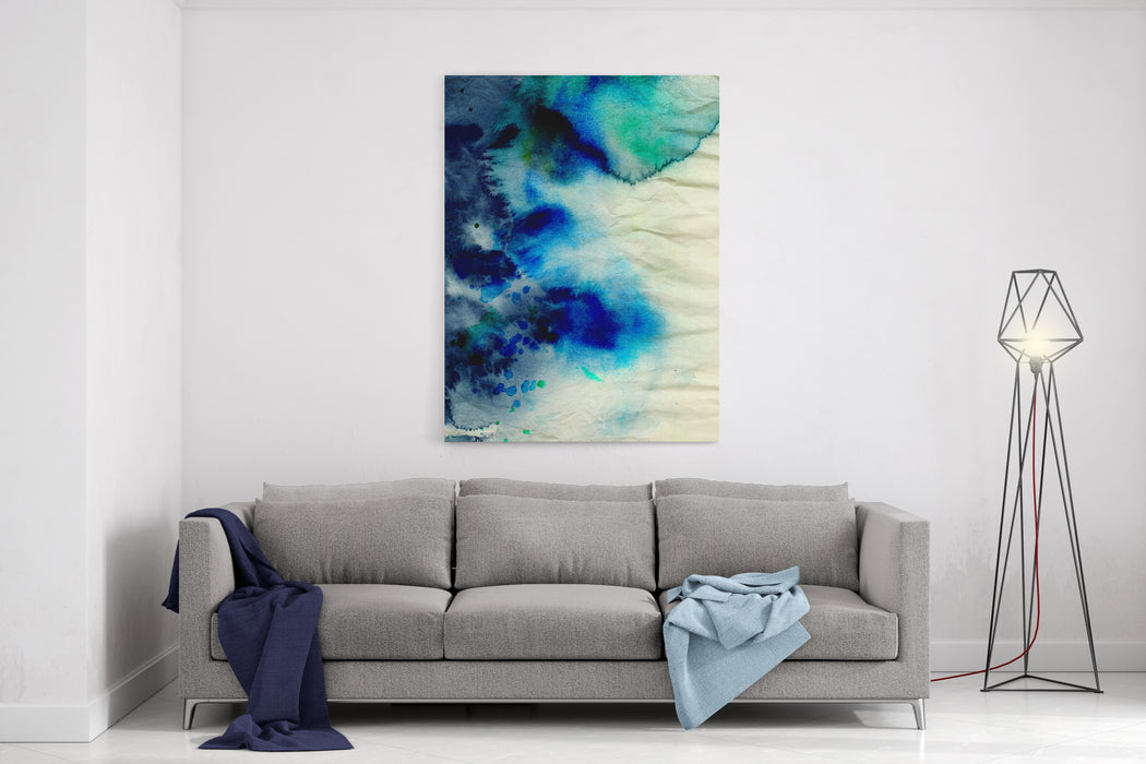 Blue Watercolor Background On Grunge Texture Canvas Wall Art Print