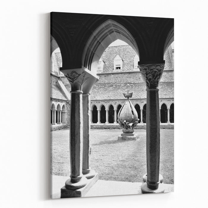A View Of The Architectural Detail Around The Cloister Inside The Historic Abbey On Iona Canvas Wall Art Print