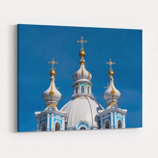 Smolny Cathedral Detail, Part Of The Architectural Ensemble Of The Smolny Monastery, In A Sunny Day Saint Petersburg, Russia Canvas Wall Art Print