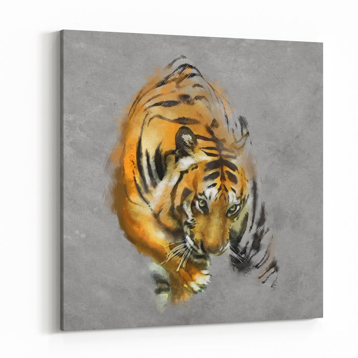 Painting A Tiger On The Wall Canvas Wall Art Print