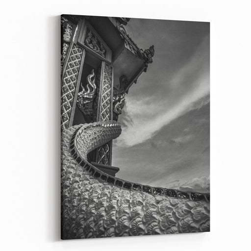 Black And White Photography With Lonely Little Buddhist White Temple With Nobody And Dramatic Cloudy Sky In Dark Atmosphere, Architecture Of Thailand Canvas Wall Art Print