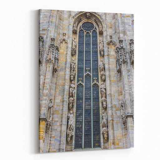 Architectural Fragment Of Milan Cathedral Duomo Di Milano, , Dedicated To St Mary Of The Nativity Santa Maria Nascente, With Gothic And Lombard Romanesque Style Milan, Italy Canvas Wall Art Print