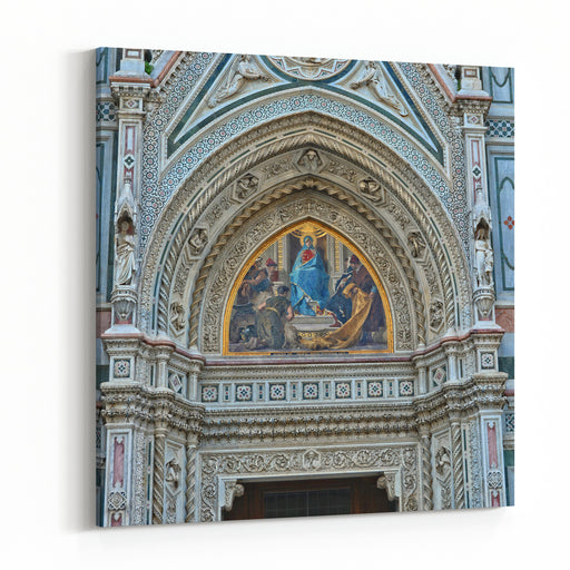 Italian Renaissance Architectural Details Of Awesome Marble Facade With Sculptures, Painting, Decorations Duomo Florence Cathedral Is The Third Largest Church In The World Italy, Florence Canvas Wall Art Print