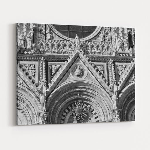 A Black And White Photo Of The Facade With Decorative And Architectural Details Of The Cathedral In Siena, Italy Canvas Wall Art Print