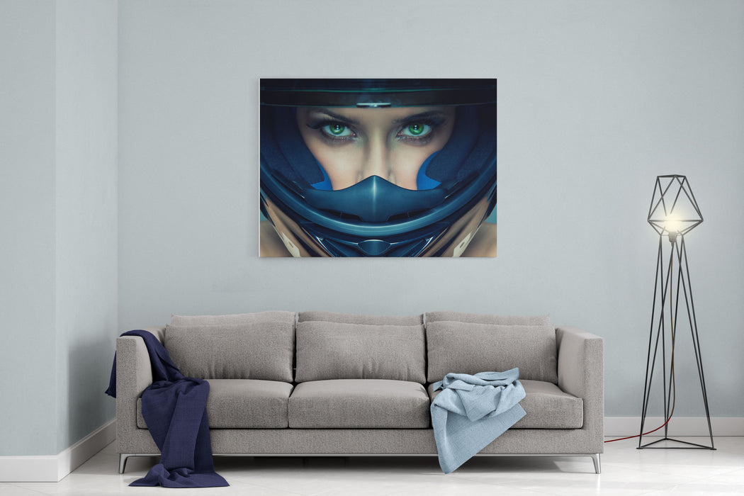 Sexy Woman In Helmet On Blue Background Canvas Wall Art Print
