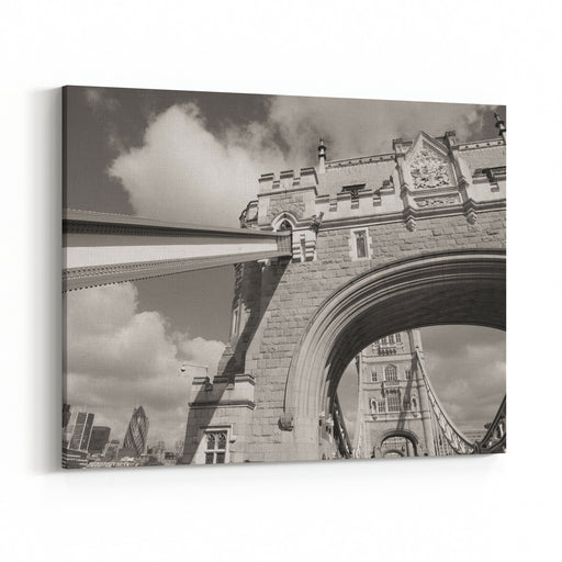 Beautiful Wideangle View Of Tower Bridge Powerful Structure Detail  London  UK Canvas Wall Art Print