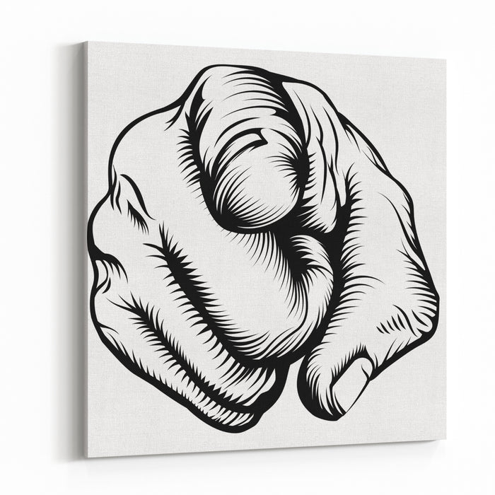 Retro Black Woodcut Print Style Hand Pointing Finger At Viewer, From Front Canvas Wall Art Print