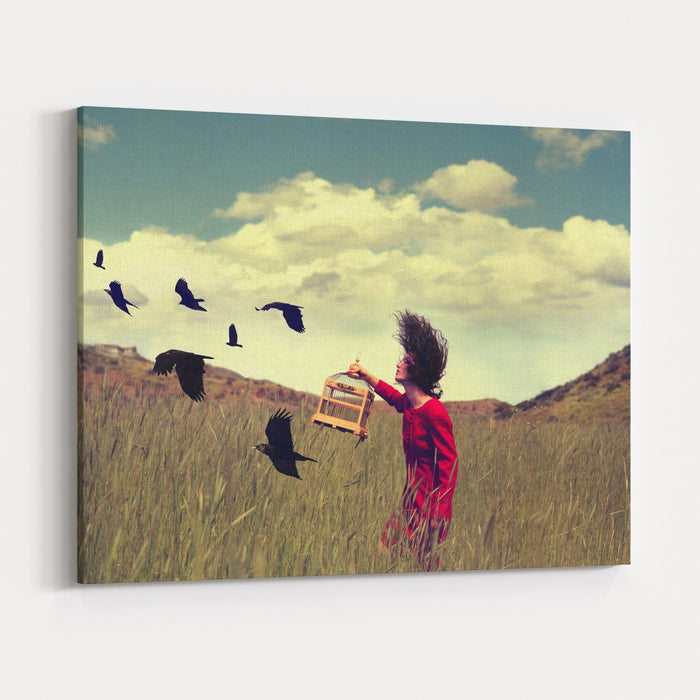A Girl Walking Through A Field With A Flock Of Ravens Or Crows Toned With A Retro Vintage Instagram Filter Effect Action App Canvas Wall Art Print