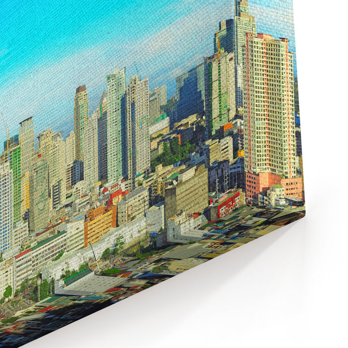 Aerial View On Makati City  Modern Financial And Business District Of Metro Manila, Philippines Canvas Wall Art Print