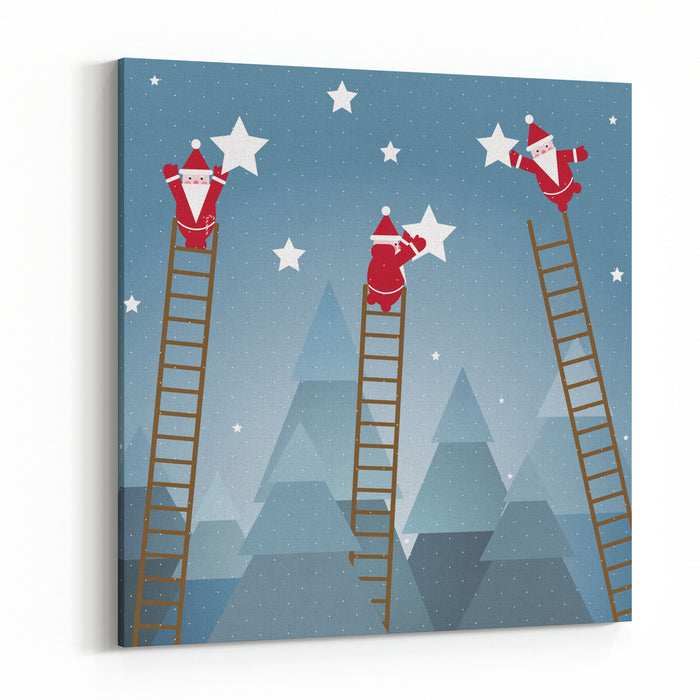 Santa Hanging Stars And Christmas Woods Raster Variant Canvas Wall Art Print