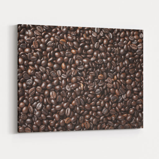 A Lot Of Roasted Coffee Beans Which Have Been Scattered All Over The Surface Used As A Background  Square Canvas Wall Art Print