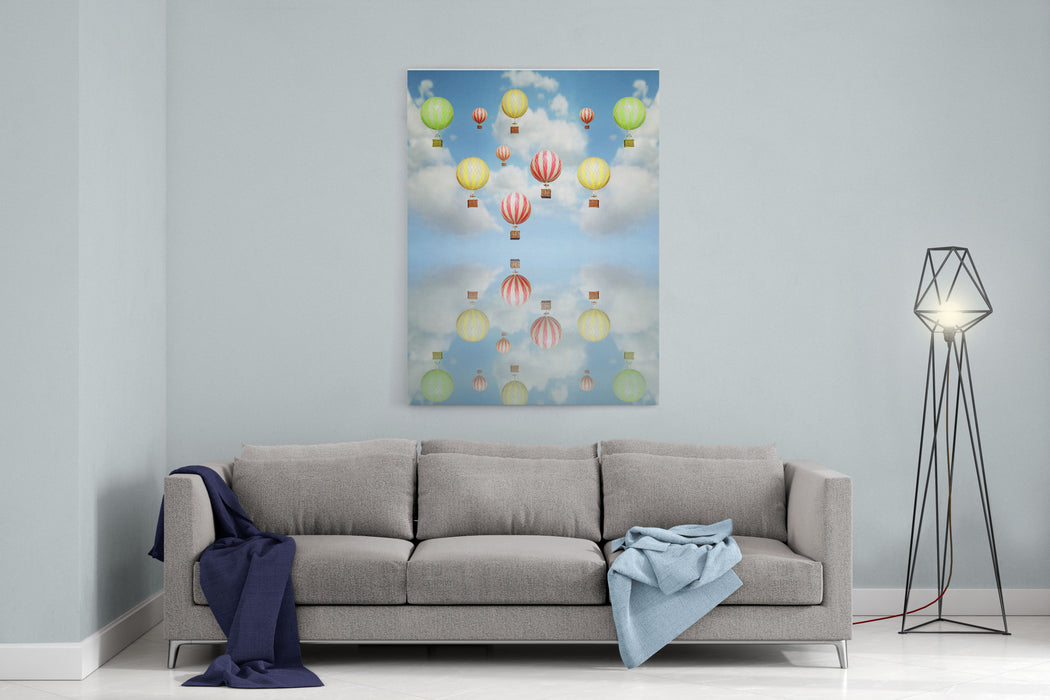 Beautiful Abstract Artistic Background With Many Colorful Hot Air Balloon In The Sky With Its Reflection Above Canvas Wall Art Print