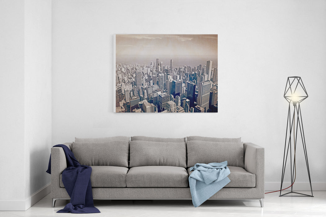Chicago Aerial View Old Postcard Design Canvas Wall Art Print ...
