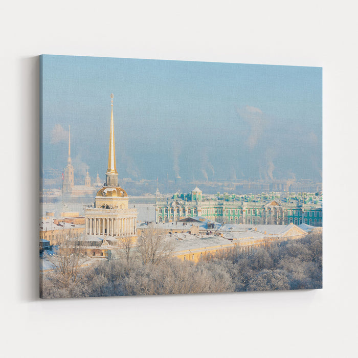Admiralty, Hermitage, Peter And Paul Fortress Winter View From St Isaacs Cathedral, St Petersburg, Russia Canvas Wall Art Print