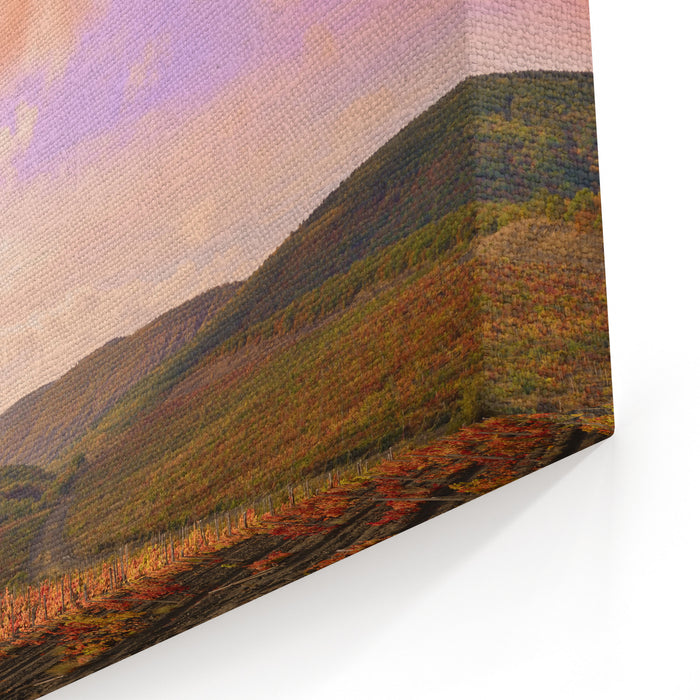 Landscape With Vineyards Mountains At Background Canvas Wall Art Print