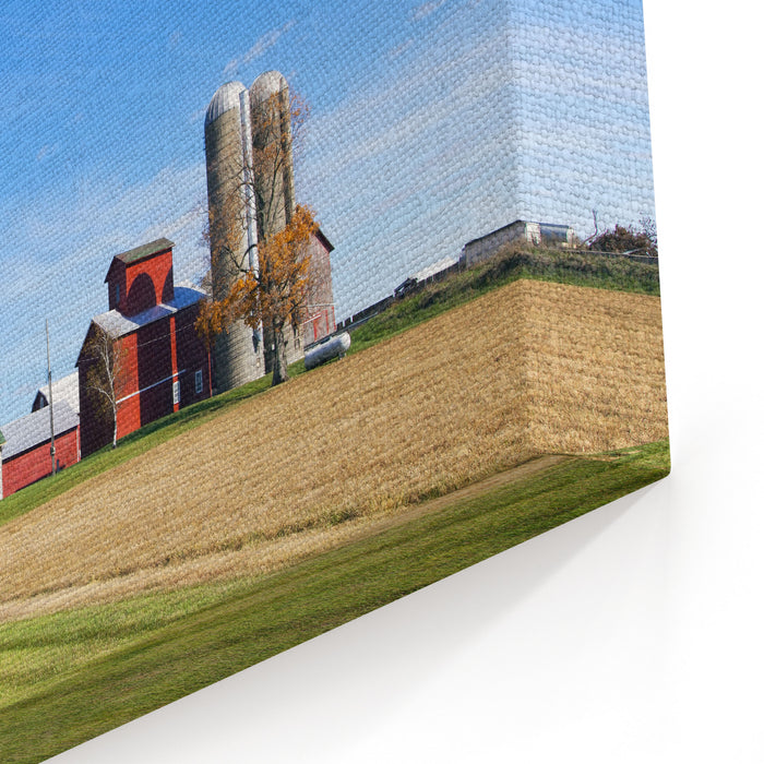 American Countryside With Blue Sky Canvas Wall Art Print