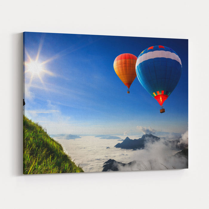 Colorful Hotair Balloons Flying Over The Mountain Canvas Wall Art Print