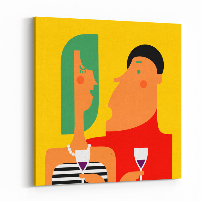 Couple Talking And Drinking Wine At A Party Canvas Wall Art Print