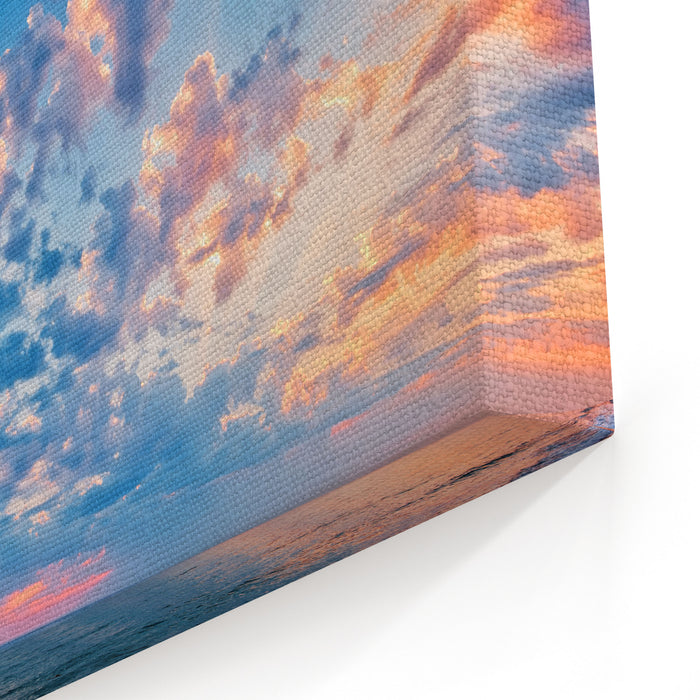 A Beautiful Sunset Sky Over The Sea Canvas Wall Art Print