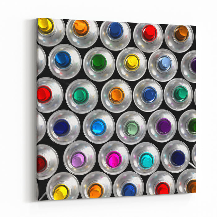 Aerial View Of Neatly Arranged Aerosol Cans With Different Colored Nozzles Canvas Wall Art Print