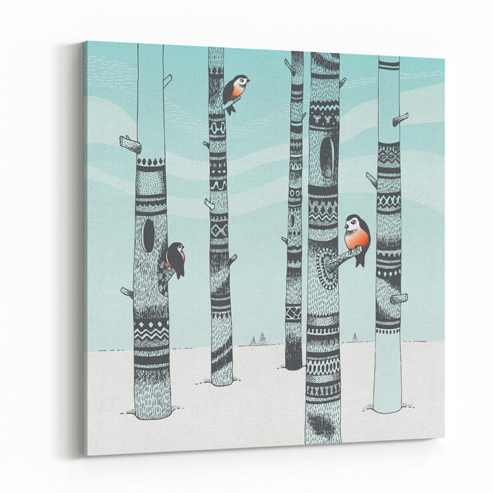 Bullfinches In Carving Woods Canvas Wall Art Print