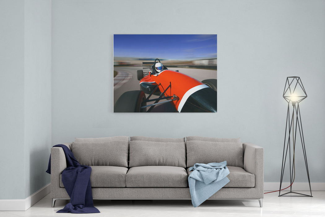 Red Racing Car Driving At High Speed In CircuitCamera On Board Canvas Wall Art Print