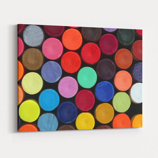 Colorful Wax Crayon Pencils For School Art Arranged In Rows And Columns To Display Their Vivid And Bright Colors Canvas Wall Art Print