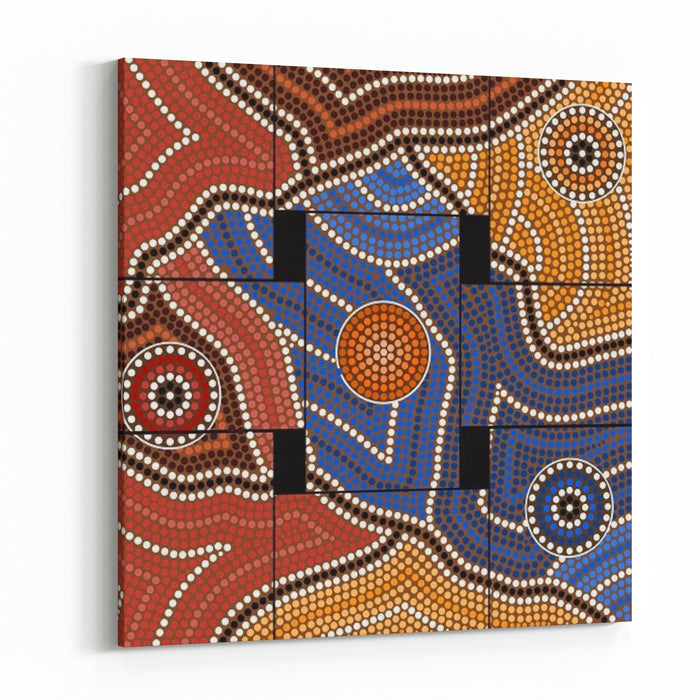 A Illustration Based On Aboriginal Style Of Dot Painting Depicting Civilization Canvas Wall Art Print