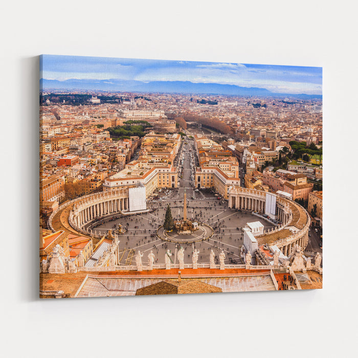 Rome, Italy Famous Saint Peters Square In Vatican And Aerial View Of The City Canvas Wall Art Print