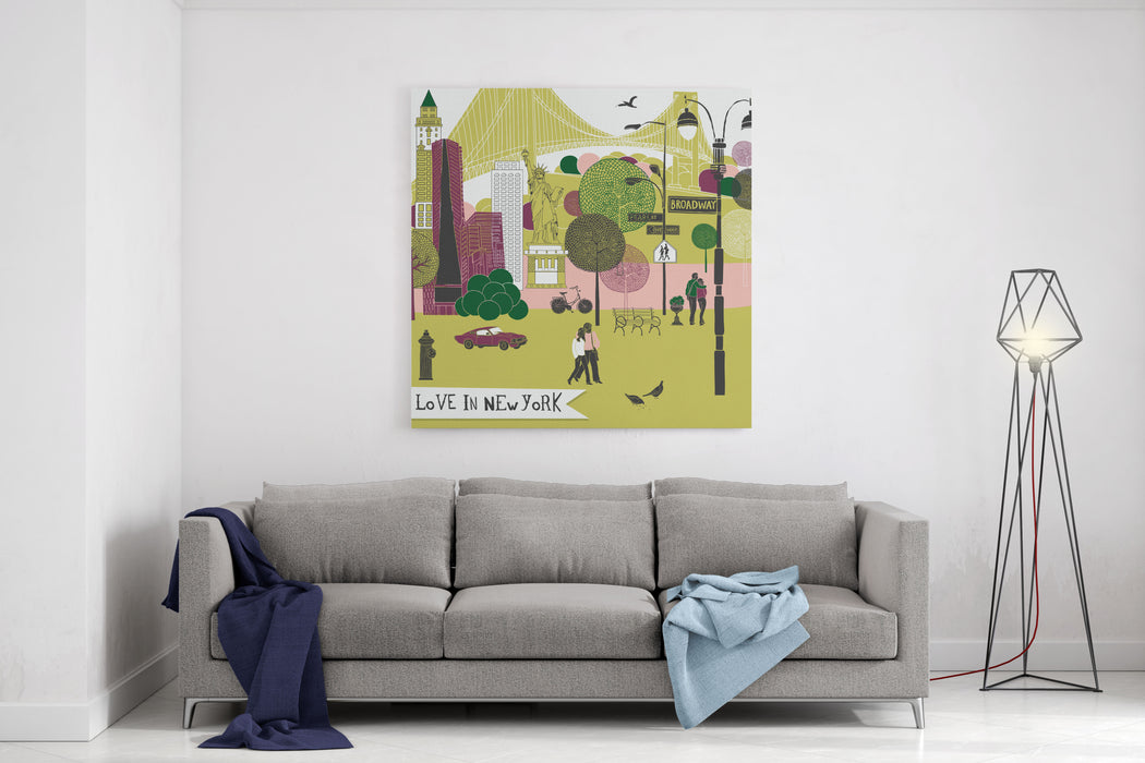 Colorful Illustration Of New York Landmarks Canvas Wall Art Print