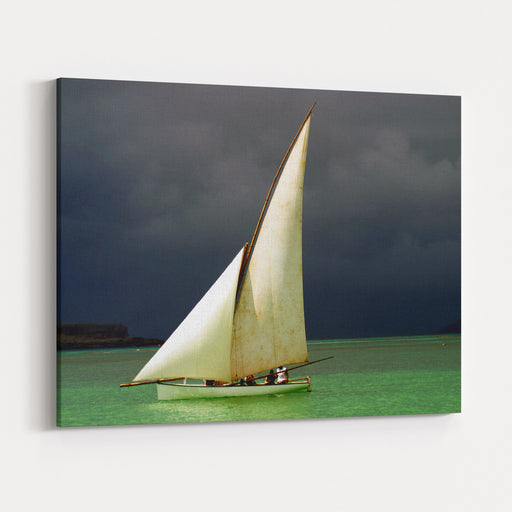 White Sailed Pirogue On The Ocean Mauritius Canvas Wall Art Print