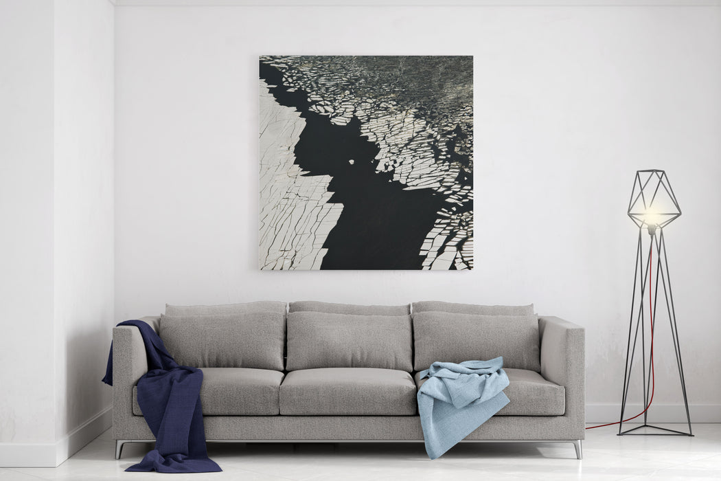 Aerial View Over The Surface Of River And Cracked Ice Canvas Wall Art Print