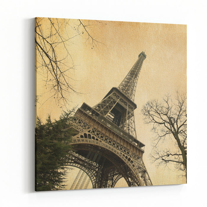 Eiffel Tower  Photo In Retro Style Paper Texture Canvas Wall Art Print