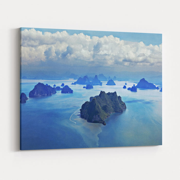 Beauty Islands Like On Mars, Aerial View From The Plane Canvas Wall Art Print