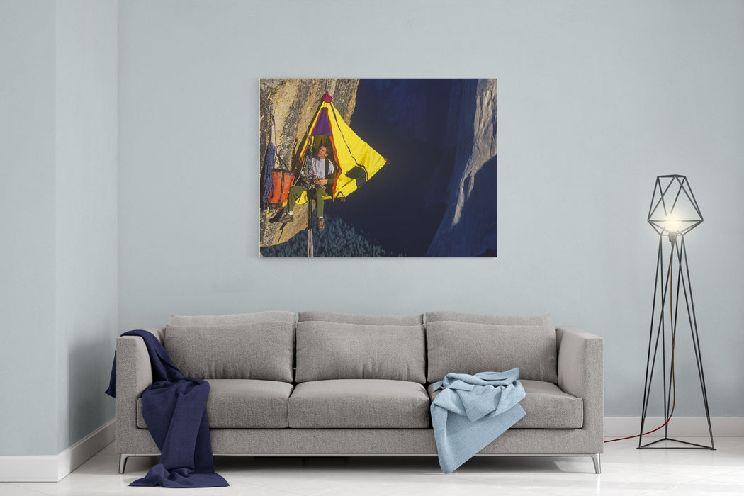 Climber In His Hanging Camp Sleeps On The Side Of A Mountain Canvas Wall Art Print