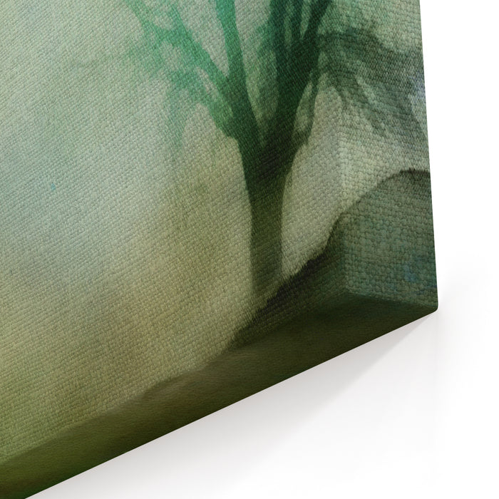 An Abstract Painting With Tree And Stars,watercolor Style Canvas Wall Art Print